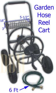 Mobile Garden Hose Reel Cart with Wheels 225 ft x 5 8 Inch