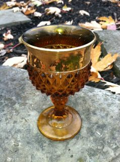 Diamond Point Indiana Glass Goblets   1 Gold Rim, 5 1/2 tall & NICE