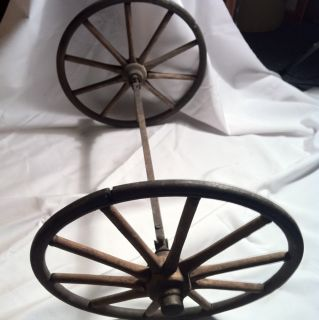 Antique Miniature Wooden Wagon Wheels Very Nice Old Cast Iron Axis