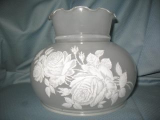Vintage Frosted & Stenciled Glass Lamp Shade Parlor Hurricane Student