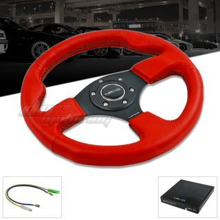 NRG 320mm Race Series Racing Sport Red Leather Steering Wheel w Black