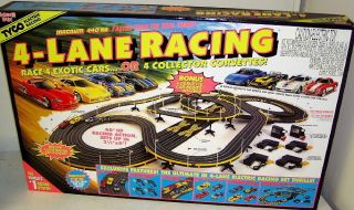 Tyco Mattel Hot Wheels 440x2 4 Lane HO Scale Slot Car Track Set w 4