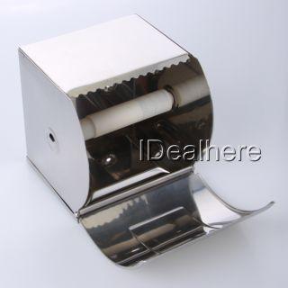 Stainless Steel Toilet Paper Tissue Holder Box w Cover