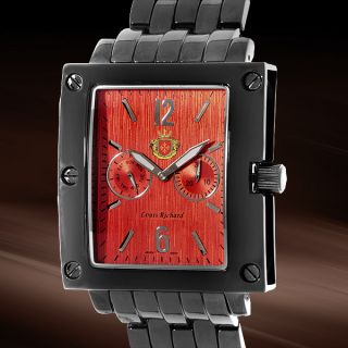 Louis Richard Woodcroft Beautiful Black Orange Large Mens Watch Value