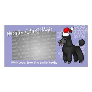 Christmas Poodle (black puppy cut) Customized Photo Card