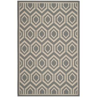Safavieh Courtyard Anthracite/beige Indoor/outdoor Geometric Pattern Rug (53 X 77)