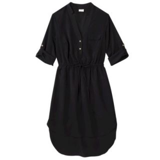 Merona Womens Drawstring Shirt Dress   Black   S