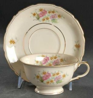 Black Knight Delmonte Footed Cup & Saucer Set, Fine China Dinnerware   Pink, Yel