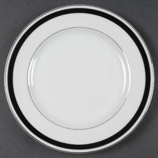 Montgomery Ward Courier Salad Plate, Fine China Dinnerware   Black Band,Platinum