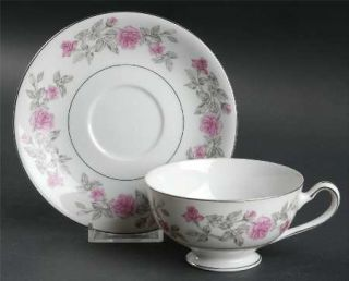 Harmony House China Laura Charcoal Footed Cup & Saucer Set, Fine China Dinnerwar