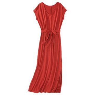 Merona Womens Knit V Neck T Shirt Maxi Dress   Hot Orange   M
