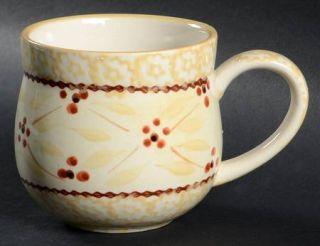 Temp Tations Old World Cream Mug, Fine China Dinnerware   Cream Sponge Bands,Yel