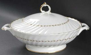 Royal Doulton Adrian Round Covered Vegetable, Fine China Dinnerware   Inner Gold