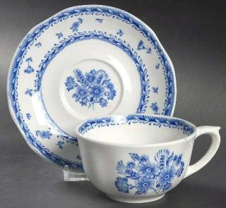 Arabia of Finland Finn Flower Blue (White Backgound) Footed Cup & Saucer Set, Fi