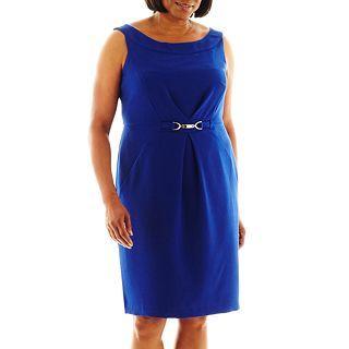 Dana Kay Buckle Front Sheath Dress   Plus, Cobalt