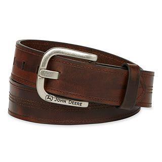 John Deere Oil Tan Belt, Brown, Mens