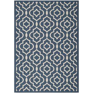 Safavieh Geometric Indoor/outdoor Courtyard Navy/beige Rug (8 X 11)