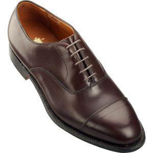 Alden Mens Straight Tip Bal Calfskin Dark Brown Shoes   920