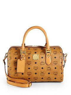 MCM Heritage Medium Boston Bag   Cognac