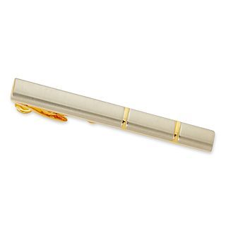Two Tone Tie Bar, Gold, Mens