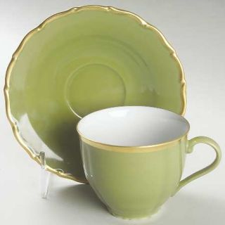Anna Weatherley Colours Sage Green Flat Cup & Saucer Set, Fine China Dinnerware