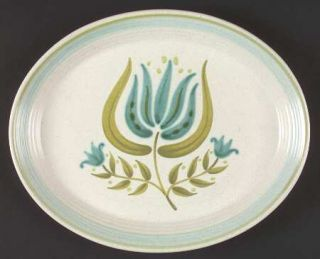 Franciscan Tulip Time 11 Oval Serving Platter, Fine China Dinnerware   Blue/Gre