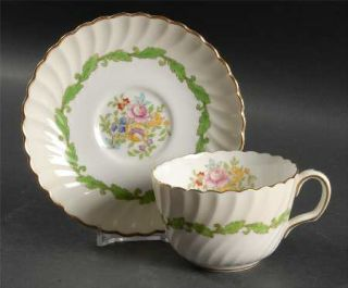 Minton Ardmore (Green Leaf) Flat Cup & Saucer Set, Fine China Dinnerware   Cream