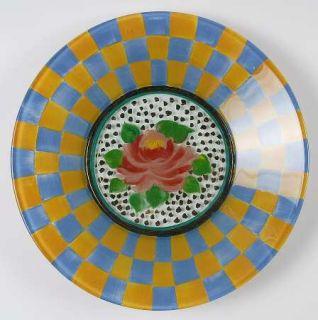 MacKenzie Childs Circus Dinner Plate   Multimotif Painted Glassware