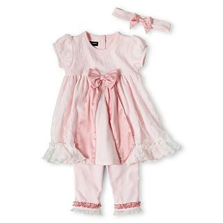 Wendy Bellissimo 3 pc. Legging Set   Girls 6m 24m, Pink, Girls