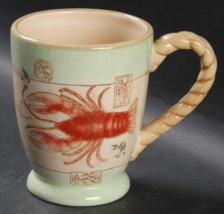 Shore Thing Mug, Fine China Dinnerware   Crabs,Boats,Lighthouses,Rope Trim