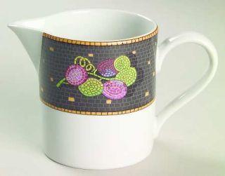 Sasaki China Ravenna Charcoal Creamer, Fine China Dinnerware   Fruit&Leaves On C