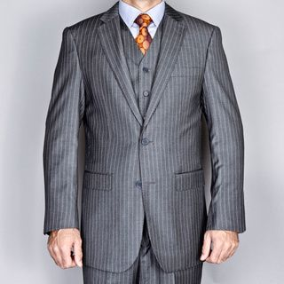 Mens Grey 2 button Vested Suit