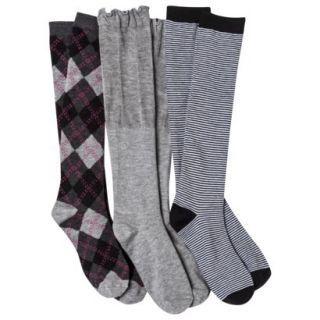 Xhilaration Juniors 3 Pack Knee High Socks   One Size Fits Most Multicolor
