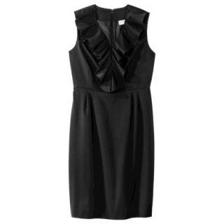 Merona Womens Twill Ruffle Neck Dress   Black   8