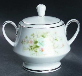 Noritake Poetry Sugar Bowl & Lid, Fine China Dinnerware   Floral Ring, Floral Ce