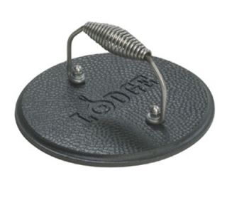 Lodge 7.5 in Round Cast Iron Grill Press w/ Cool Grip Spiral Handle & Hammered Finish