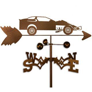 Handmade Modified Dirt Late Race Car Racing Weathervane (CoppervienMaterials: SteelStyle: Roof, garden, flat, sideWeatherproof Garden height: 60 inchesFlat, roof, side height: 30 inches Dimensions: 30 inches high x 21 inches wide x 21 inches deep )