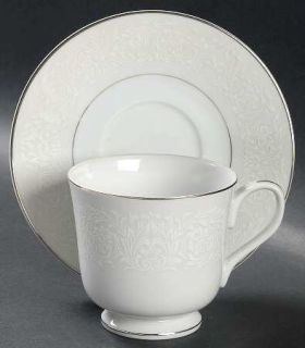 Carlton (Japan) Plymouth Footed Cup & Saucer Set, Fine China Dinnerware   White