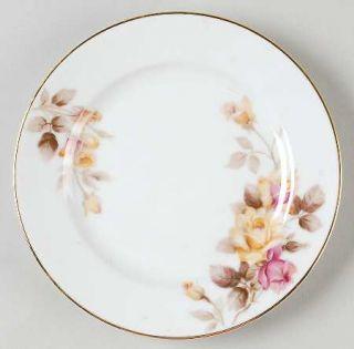 Noritake Angela Bread & Butter Plate, Fine China Dinnerware   Pink&Yellow Roses,