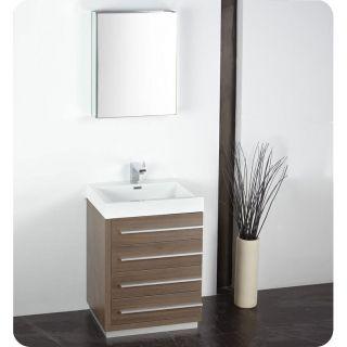Fresca Livello 30 Inch Grey Oak Bathroom Vanity And Medicine Cabinet
