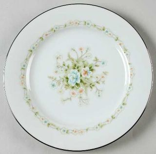 Noritake Poetry Salad Plate, Fine China Dinnerware   Floral Ring, Floral Center