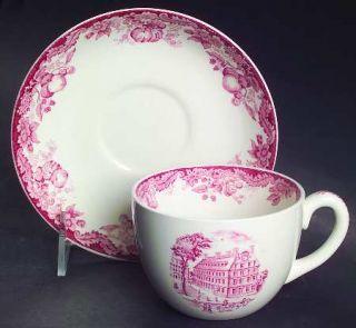 Wedgwood Harvard University Pink (No Gold Trim) Flat Cup & Saucer Set, Fine Chin