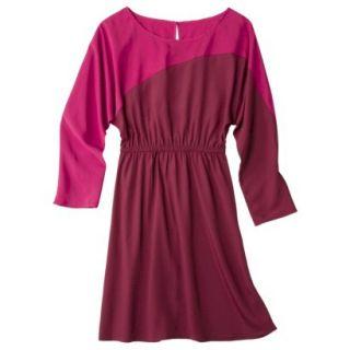 Mossimo Womens Long Sleeve Colorblock Dress   Red/Matador/Matador S
