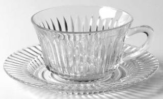 Anchor Hocking Queen Mary Clear Cup and Saucer Set   Clear, Depression Glass