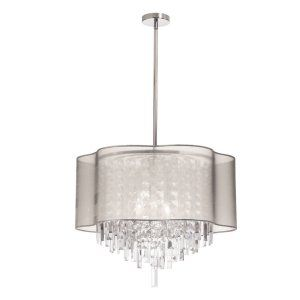 Dainolite DAI ILL 206C PC 817 Illusion 6 Light Pendant With Oys Lam Organza Shad