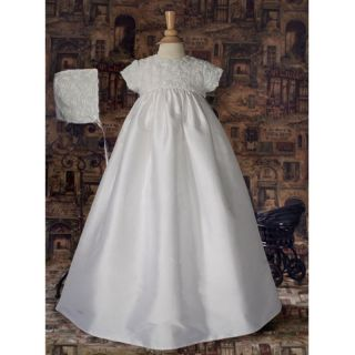 Little Things Mean a Lot Michaela Silk Christening Gown with Rosetta Bodice