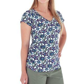 Royal Robbins Urban Garden Shirt   UPF 50+  V Neck  Short Sleeve (For Women)   SPEARMINT (M )