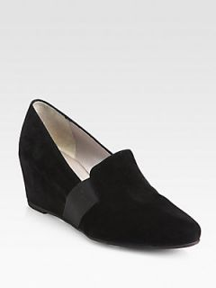 Aquatalia by Marvin K Paige Suede Wedge Slippers   Black