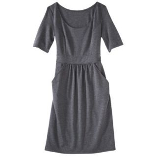 Merona Womens Ponte Elbow Sleeve Dress w/Pockets   Heather Gray   M