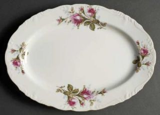 Royal Sealy Moss Rose 12 Oval Serving Platter, Fine China Dinnerware   White Ba